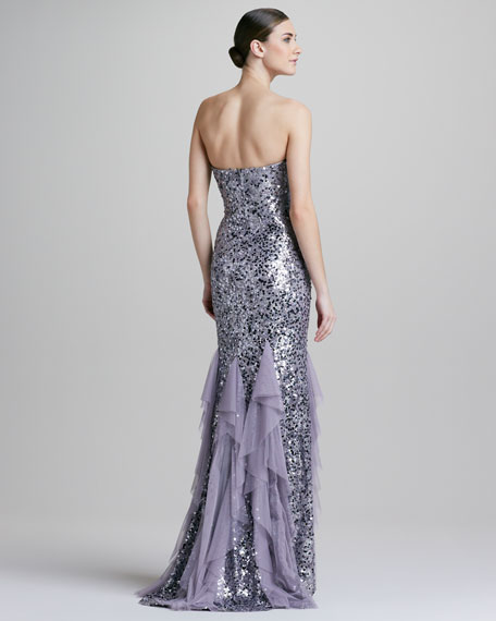 Strapless Sequined Ruffled Chiffon Gown
