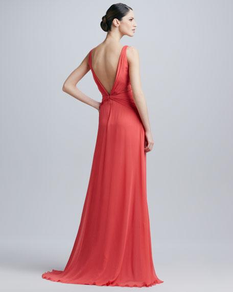V-Neck Overlay Gown