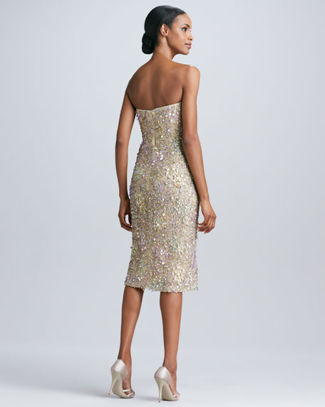 Strapless Sweetheart Sequined Cocktail Dress
