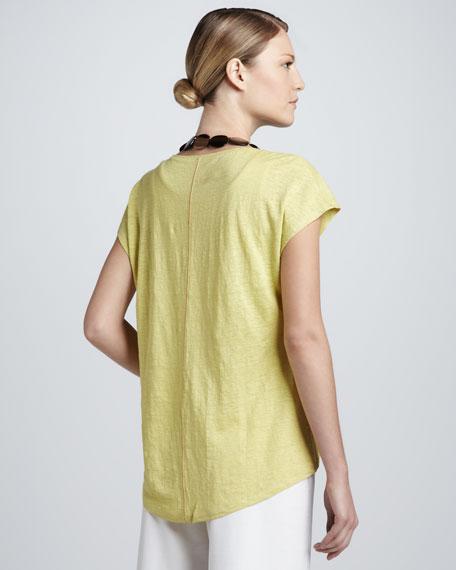 Top-Stitched Linen Jersey Tee, Petite