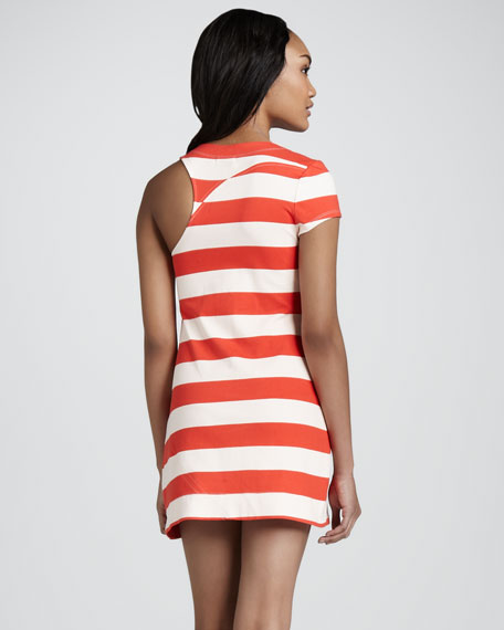 Laurette Striped Single-Sleeve Dress
