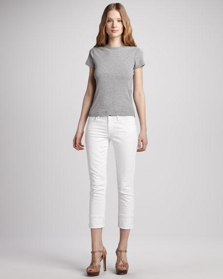 Bonnie Clean Cuffed Cropped Jeans, White