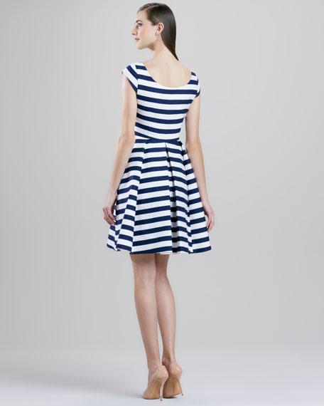 mariella striped cap-sleeve dress