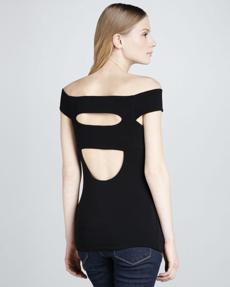 Clam Shell Cutout Cap-Sleeve Top