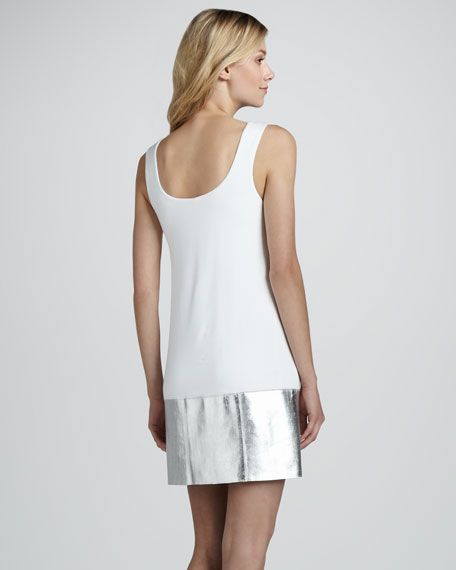 Horizon Sleeveless Metallic Leather Panel Dress