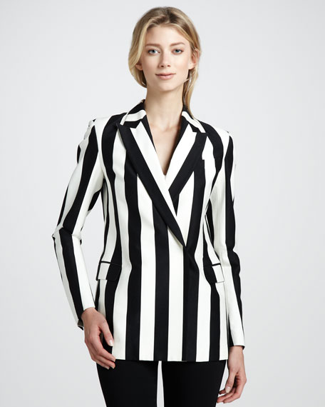 Graphic Striped Double-Breasted Blazer