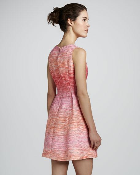 Freyja High-Neck Sleeveless Tweed Dress