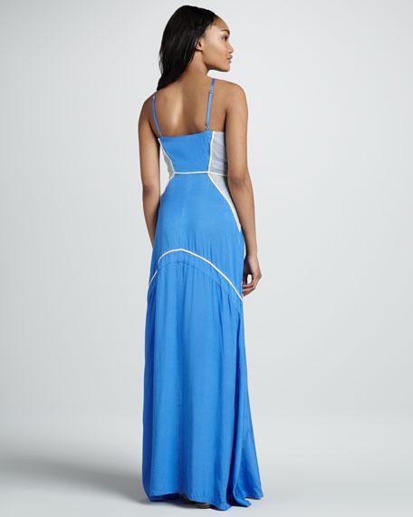 Racquet Mesh-Panel Maxi Dress