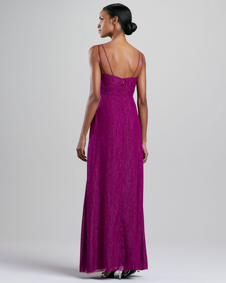 Sleeveless Sparkle V-Neck Gown