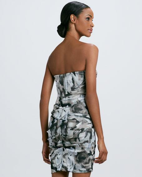 Strapless Floral-Print Cocktail Dress