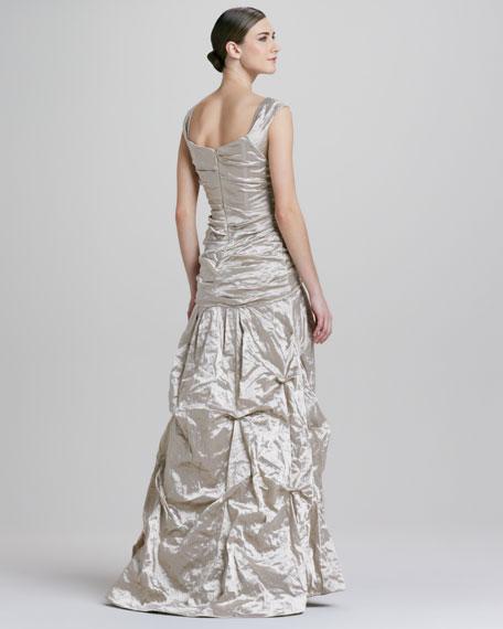 Sweetheart-Neckline Metallic Gown