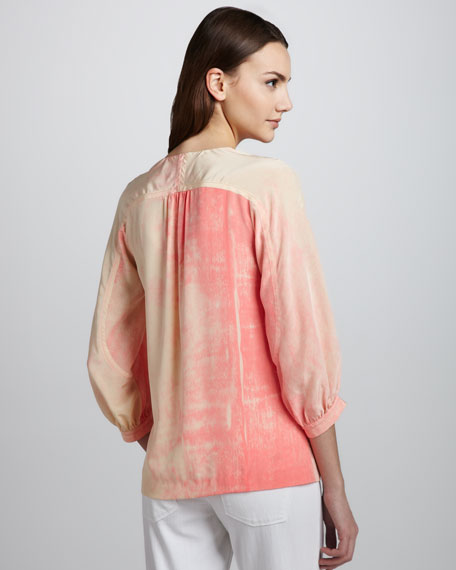 New Cahil Printed Silk V-Neck Top
