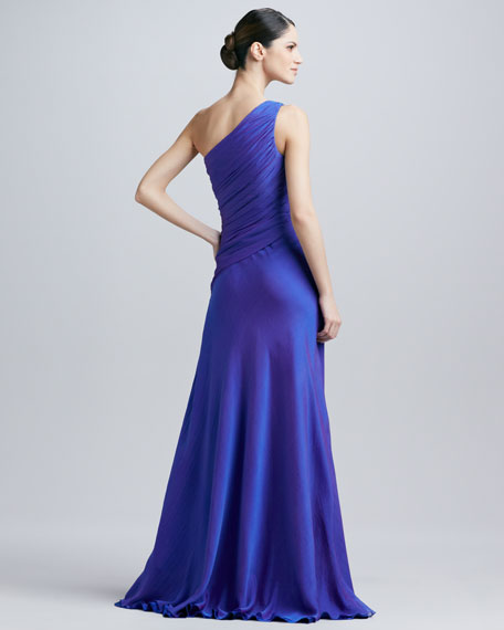 One-Shoulder Ruched Gown