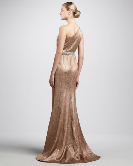 One-Shoulder Brocade Gown