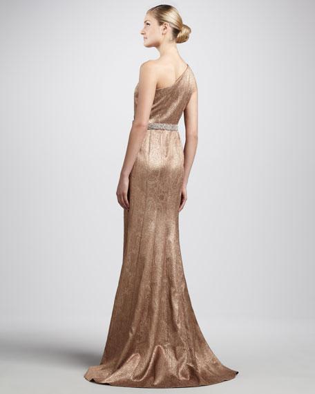 One-Shoulder Brocade Gown