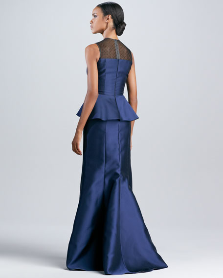 Illusion Peplum Trumpet Gown
