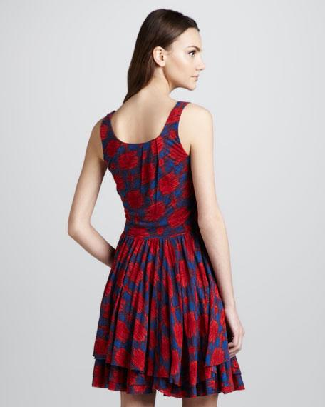 Sam Layered-Skirt Printed Dress