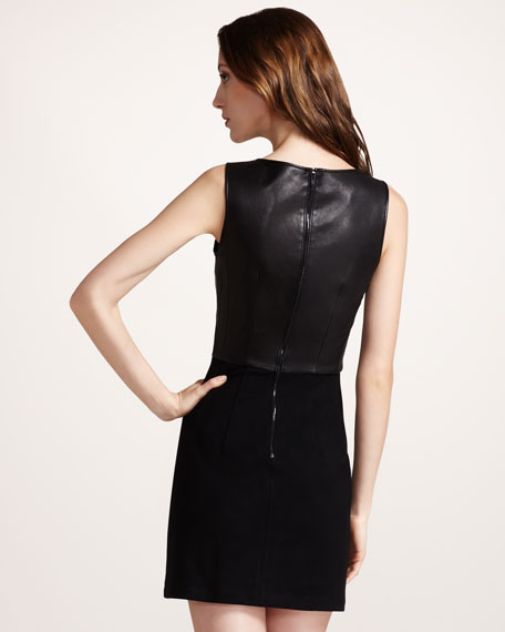 Leather-Top Combo Dress