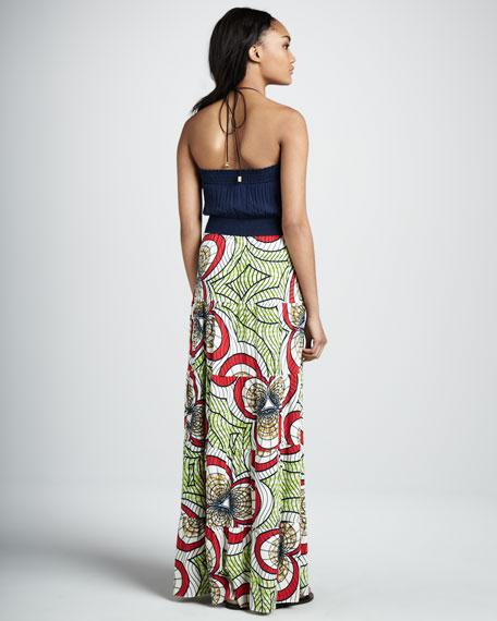 Embellished-Neck Maxi Dress