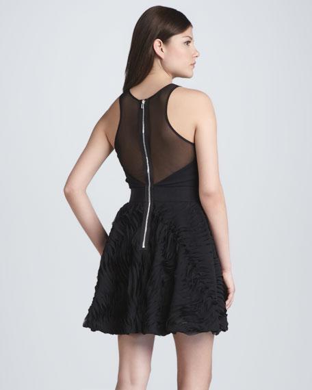 Plisse Twirl Illusion Cocktail Dress