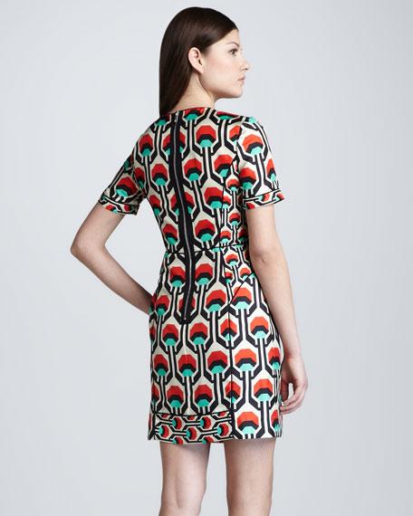 Short-Sleeve Geometric-Print Dress