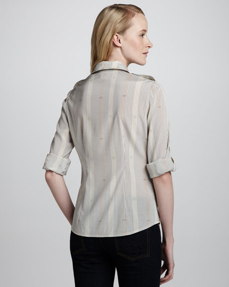 Brigitte Printed Tab-Sleeve Blouse