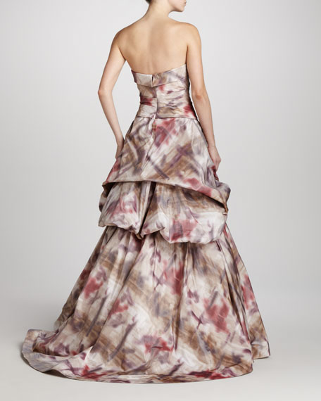 Printed Strapless Ball Gown