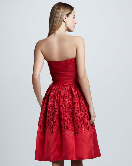 Strapless Lace-Skirt Cocktail Dress