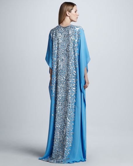 Sequined Silk Caftan Gown