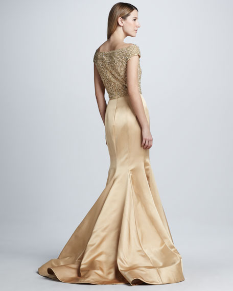 Beaded Cap-Sleeve Mermaid Gown