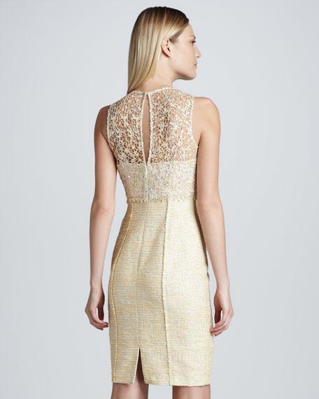Sleeveless Lace Illusion Tweed Dress