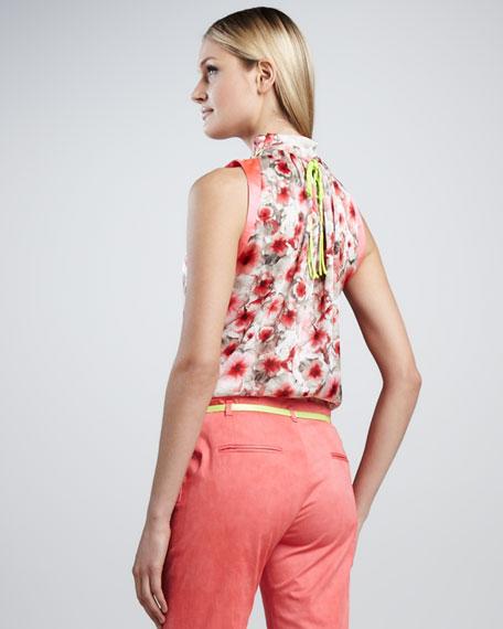 Trudy Silk-Print Halter Blouse