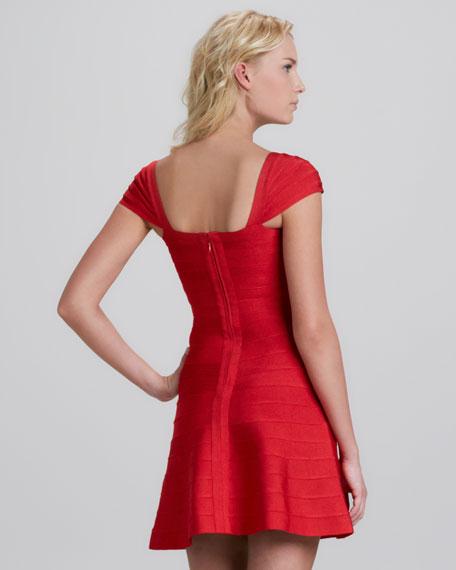 Cap-Sleeve Flounce Bandage Dress
