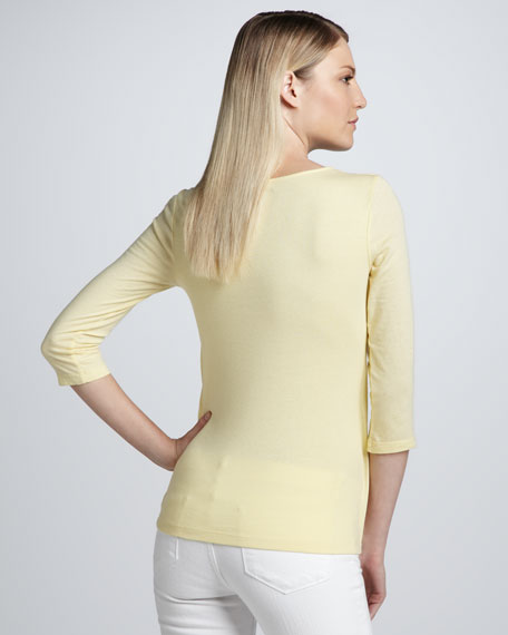 Thee-Quarter-Sleeve Twist-Front Top