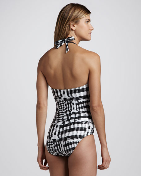Gingham Halter One-Piece Swimsuit