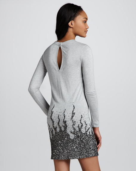 Long-Sleeve Sequin-Embellished Mini Dress