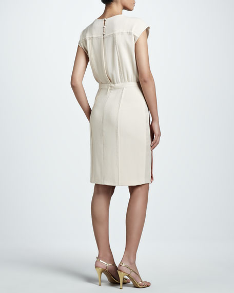Belted Colorblock Crepe Dress, Sand/Shell