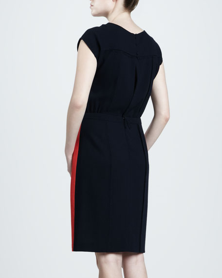 Belted Colorblock Crepe Dress, Shell/Poppy
