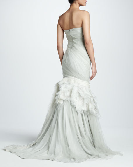 Feathered Organza Flare Gown