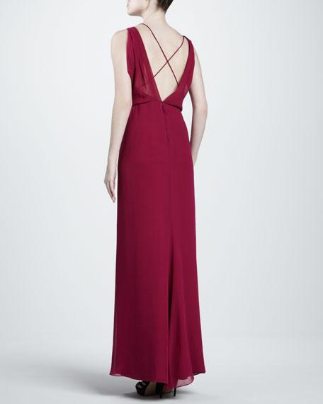 Asymmetric Georgette Gown, Fuchsia
