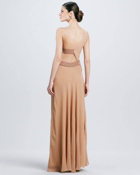One-Shoulder Georgette Gown, Sandstone