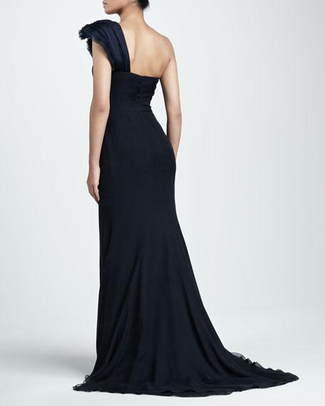 One-Shoulder Organza Gown, Navy