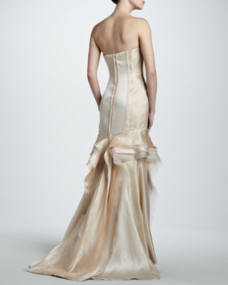 Strapless Metallic Pleated Gown