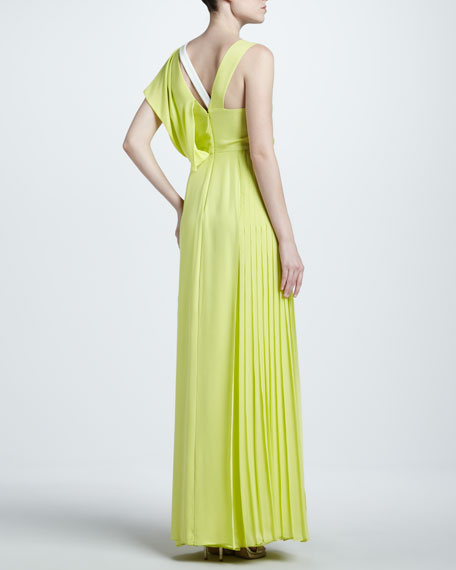 Asymmetric Georgette Gown