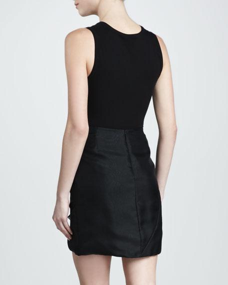 Sculpted Organza Miniskirt, Black