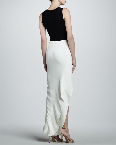 Crepe High-Low Maxi Skirt