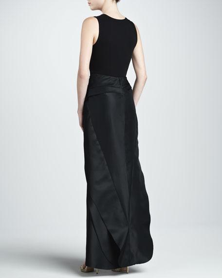 Sculpted Gazar Maxi Skirt, Black