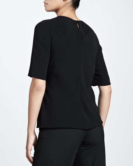 Crepe Half-Sleeve Top
