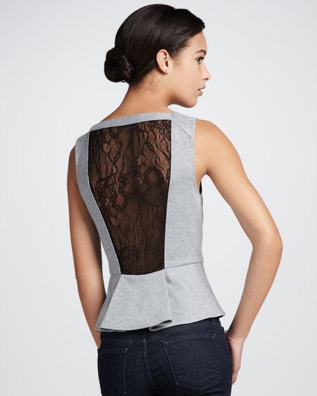 Lace-Back Peplum Top
