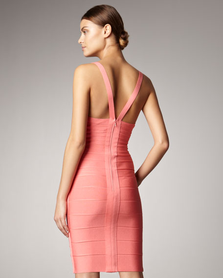Herve Leger V-Neck Bandage Dress, Pink Coral